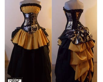 """READY TO SHIP Size 40-43"""" Waist Nevermore Black and Gold Steampunk Full Bustle Gown Costume - by LoriAnn Costume Designs"""
