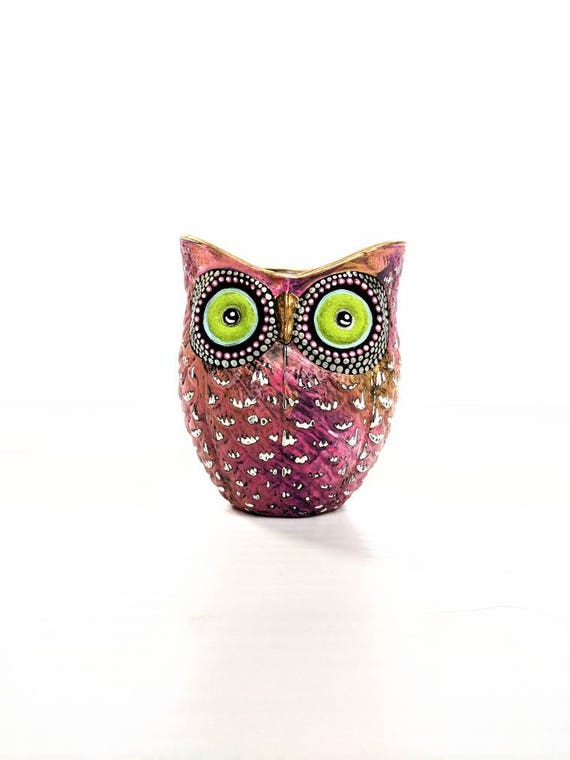 Pink and gold hand painted Owl shaped votive candle holder