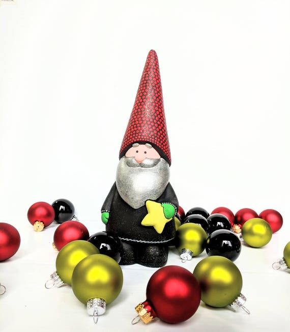 Gnome hand painted ceramic gnome figurine with yellow star black glittery