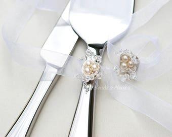 Cake server and cake knife set birds nest removable decoration Swarovski crystal and pearl keepsake cake serving set, cake cutting set