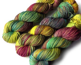 Hand Dyed Yarn Boston Baby Alpaca Merino Silk DK Yarn, Rainforest