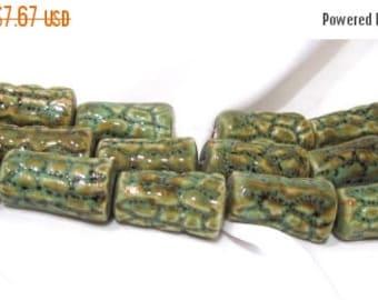 65% Off 8 Aqua and Brown Glazed Glass handmade Cone beads, Textured Art Beads, Ceramic beads, Pottery beads, approx 28x17mm POR0034