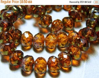 50% OFF Czech Amber with Brass Picasso 6x10mm Faceted Fire Polished Glass Rondelle Beads (25) 0835-P