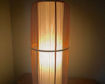 Vintage mcm willow bamboo rice paper lamp floor lamp mid century modern large spa setting asian soothing with lacquer base