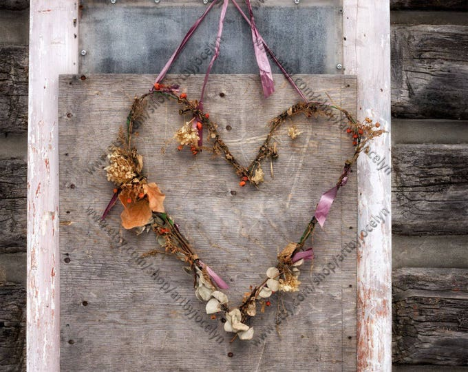 Rustic Photo Print Dried Heart Wreath on Old Wood Boarded Window