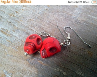 25% off Summer Sale Red Sugar Skull Earrings Howlite