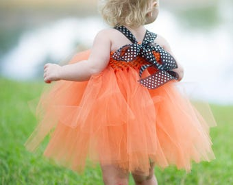 Orange witch Tutu Dress, apron & matching witch hat 3pc set - Perfect for Halloween costume, Photo Prop, Birthday, Custom made in Sz 1-3T