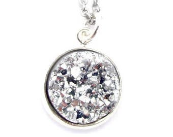 """Silver Nugget Faux Druzy Necklace 18"""" Stainless Steel Chain"""