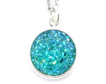 """Turquoise Faux Druzy Necklace 18"""" Stainless Steel Chain"""
