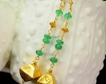 18k Solid Yellow Gold Emerald Earrings 2.6 inch