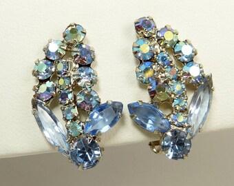D&E Juliana Blue Rhinestone Clip Earrings