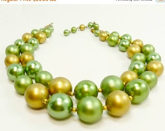 Vintage 50s Beaded Necklace Double Strand Big Bold Beads