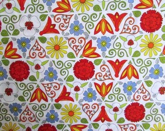 Cotton Fabric,  1 Yard Architectural Flowers Look Cotton  Fabric, Quilts, Sewing, Flowers and Embellishments in Primary Colors on White
