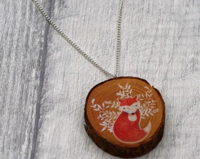 Red Fox Necklace, Woodland Jewelry, Wood Jewelry, Fox Pendant