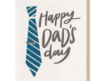 Letterpress 'Happy Dads Day Tie' Card