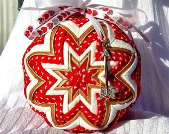 Quilted Valentine Ornament with Arrow Charm