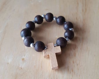Mini rosary, small rosary, rosary for men, religious gift, one decade rosary, wood bead rosary, baptism favours, prayer beads, confirmation