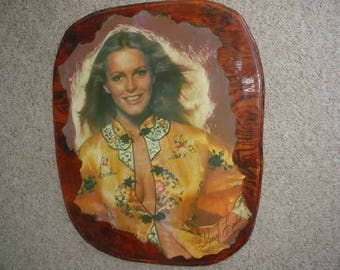 Cheryl Ladd wood decoupage plaque 28 x 23