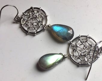 Dreamcatcher Earrings in Labradorite, Gemstone earrings, Boho jewelry, Labradorite earrings