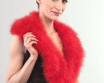 Promo Sale: Red Marabou Wrap - Collar - Shrug