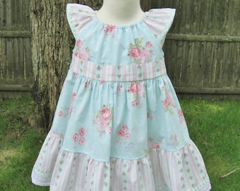 Baby girl peasant dress, pink & aqua, shabby roses, Size 18Mo, Flutter sleeves, Toddler, Twirly dress, Party, Ready to ship, Birthday, OOAK