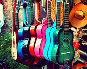 las guitarras. rainbow spanish guitars. music photo vibrant Los Angeles photograph. latin inspired, southwest decor, California art musical