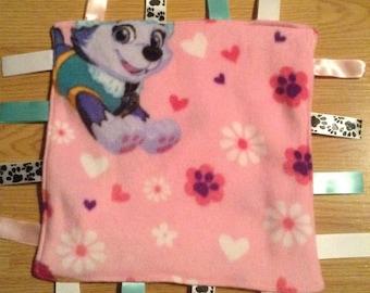 Paw Patrol, Pink fleece, ribbon blanket, baby