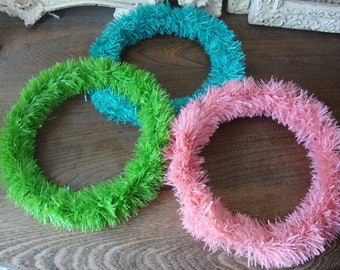 Easter wreath spring party decor tinsel wreaths easter crafts supplies pink green teal blue kids crafts for easter wall decorations