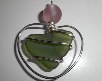olive green sea glass necklace pendant