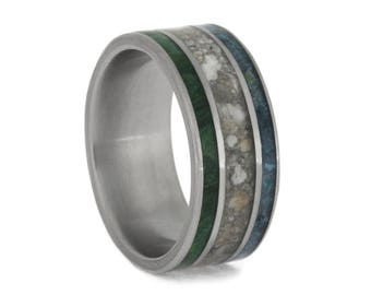 Memorial Ring Inlaid With Pet Ashes, Wood Band With Crushed Turquoise, Cremation Jewelry