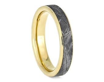 Gibeon Meteorite Wedding Band, Narrow Ring With 14k Yellow Gold, Customized Space Jewelry