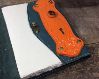 Lg Teal Leather Journal with antique door plate and cotton paper interiors