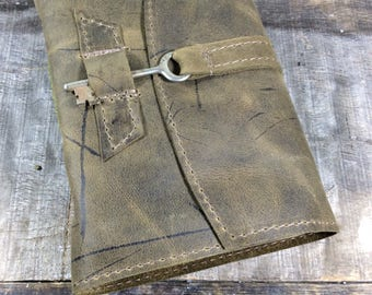 Olive Green Leather Key Journal - MD
