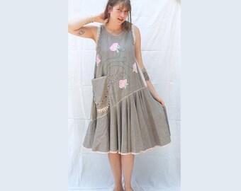 Quirky Flowery handpainted applique Dress / Linen Style - flouncy boho dress -  Slip on Summer Dress - made by Resplendent rags