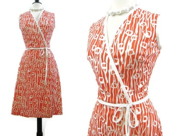 Vintage 70s Wrap Dress Orange White Crossover Surplice A line Summer Dress M
