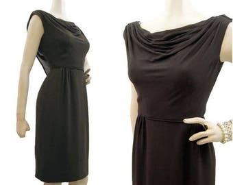 REDUCED Vintage 50s 60s Dress Brown Chiffon Draped Wiggle Cocktail M