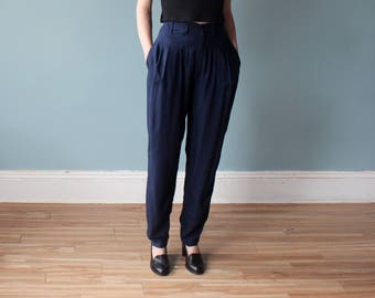 high waist navy pants | vintage high waisted trousers | 1990s small