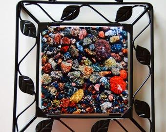 Custom Decorative useful Trivet ceramic tile your photo framed in black metal art text logo family pets bride wedding memorial