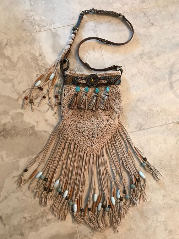 Tan Hand Crocheted Bohemian Fringed Over the Shoulder Hippie Bag