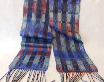 Handwoven Tencel Scarf, Lavender Scarf, Woven Scarf, Tencel Scarf, Handwoven Scarf, Hand-dyed Scarf, Silver Scarf (#17-16B)