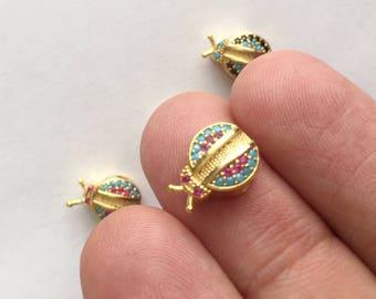 1pc- Matte Gold Plated Mini Lady Bird, ladybugs Bead, spacer-12x9x5mm-(001-048)