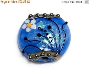 ON SALE 35% OFF New! Arctic Blue Florals Lentil Focal Bead 11838402 - Handmade Glass Lampwork Bead