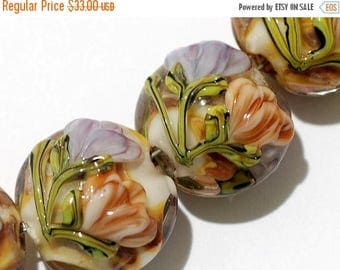 ON SALE 35% OFF Glass Lampwork Bead Set - Four Light Pink w/Orange Floral Lentil Bead 10801012