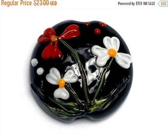ON SALE 30% off Maria's Bouquet Lentil Focal Bead - Handmade Glass Lampwork Beads 11833302