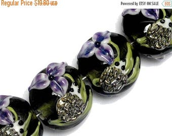ON SALE 30% off NEW! Four Iris and Critter Lentil Beads 10508612 - Handmade Glass Lampwork Bead Set