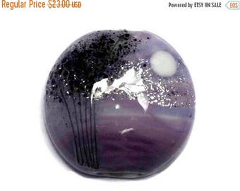ON SALE 30% off NEW! 11839502 African Violet Moonlight Lentil Focal Bead - Handmade Glass Lampwork Bead