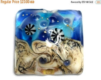 ON SALE 30% off Transparent Blue Seashell Pillow Focal Bead - Handmade Glass Lampwork Bead 11815904