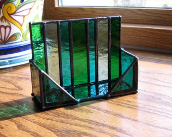 Stained Glass Business Card Holder-Desk Organizer-Desk Accessory-Office Decor-Blue Green-Stained Glass Art-Business Person Gift