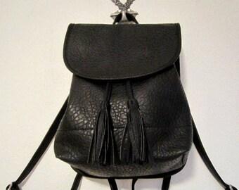Backpack, Black Color Pebbled Backpack, small/medium size backpack