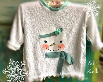 SALE Shabby Snowman Chenille Knit Top Girl 6 YelliKelli
